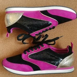 Juicy Couture 8 women's pink black gold sneakers